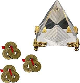 Divya Mantra Feng Shui Crystal Glass 4 cm Pyramid with Golden Stand for Spiritual Healing, Vastu Correction and Balancing and Chinese Antique Fortune Set of 3 Brown I-Ching Coin Ornaments Good Luck