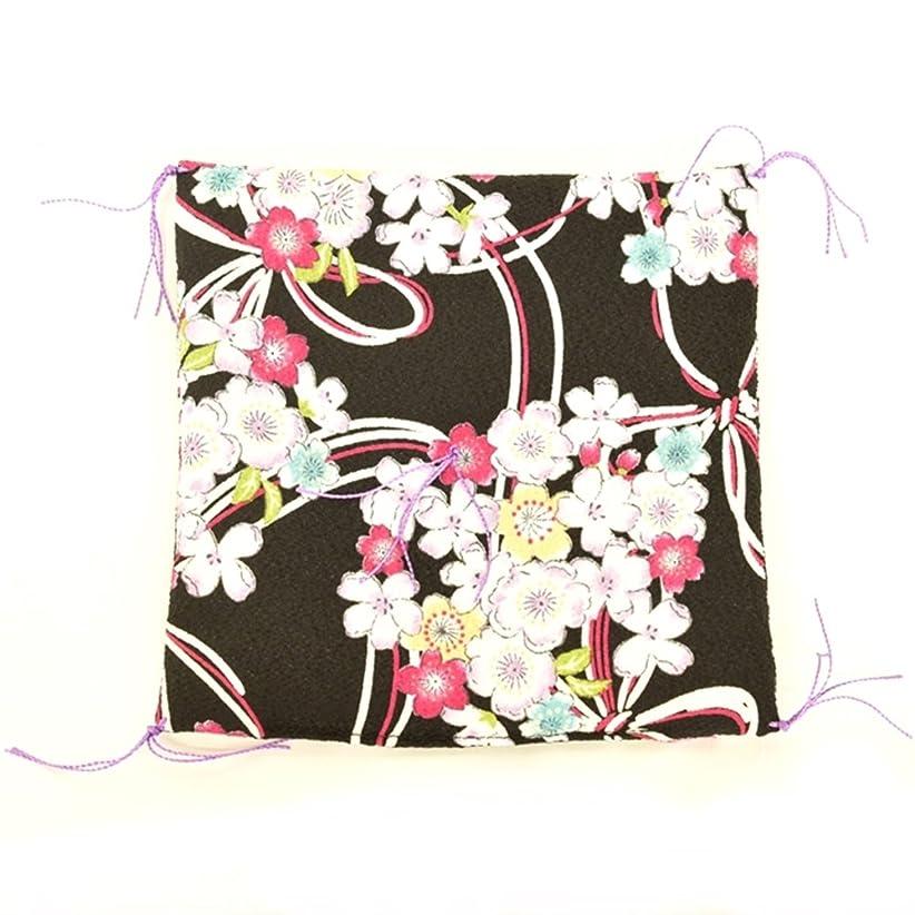 言い聞かせる遺棄されたオリエンタルミニ座布団 置物座布団 和柄ちりめん 22色バリエーション (桜黒)