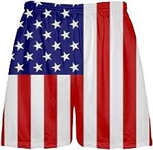 LightningWear Youth Youth American Flag Shorts, Red, White, Blue