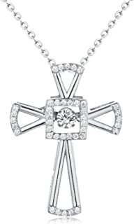MMC Silver Pendants White Topaz Cross Necklaces for Womens