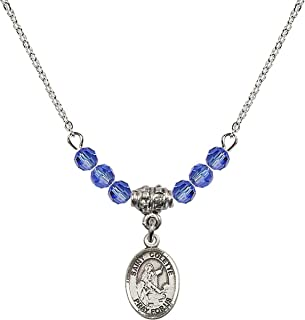 September Birth Month Bead Necklace with Catholic Patron Saint Petite Charm, 18 Inch