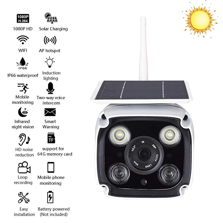 OMZBM Upgrade 1080P HD Waterproof Solar Power Camera with Infrared LED Dual Light Source,Multifunction Smart Outdoor Wireless WiFi IP APP Remote Monitor with 64G Memory Card,One