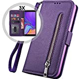 Galaxy A70 Wallet Case with Strap,Auker 3 Card Holder Fold...