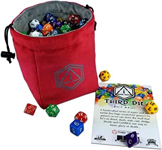 Third Die Dice Bag - Handcrafted and Reversible Drawstring Bag That Stands Open On The Table - Vibrant Red and Dark Gray