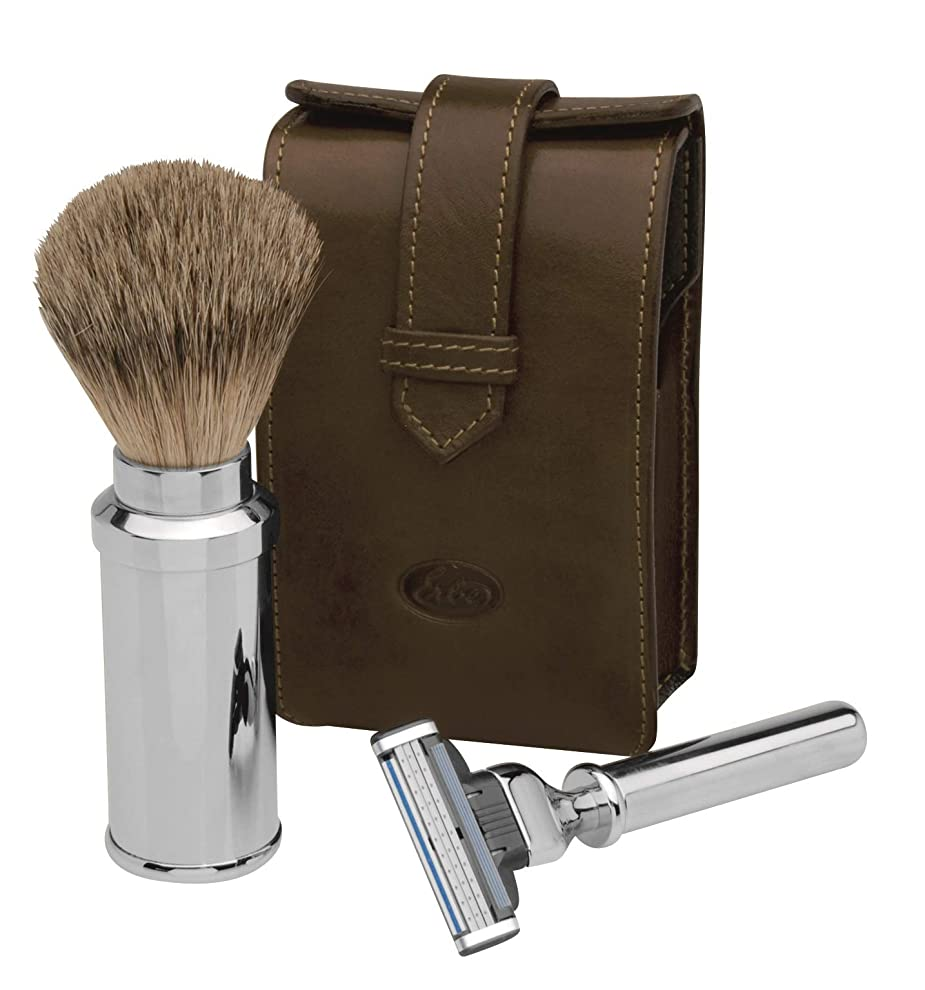 ミシンアクティビティ資本Erbe Travel Shaving Set, Razor and Shaving Brush in brown Leather Pocket