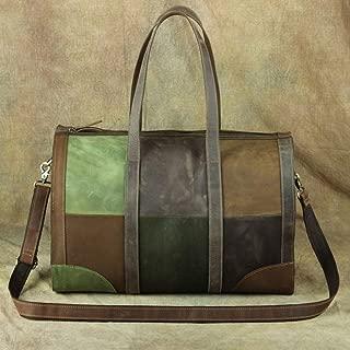RJW Retro Crazy Horse Leather Travel Bag/Top Layer Leather Shoulder/Handbag/Luggage Bag/Splicing Short Travel Travel Bag Fashion