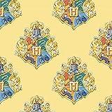 Harry Potter Stoff – CAM442 Hogwarts-Wappen gelb – 0,5