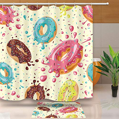 NEWTOO Donuts Shower Curtain,Best Gift for Kids, Waterproof Upgrade Polyester Fabric Home Decor Bathroom Curtain Set with Hooks, 72 X 72 Inches, Multicolor, LYNT054