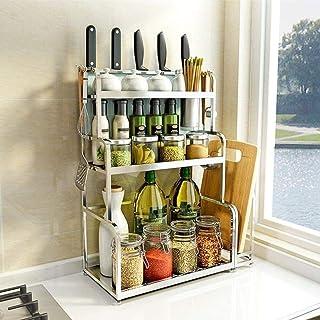 ZXZJ Cuisine Comptoir ÀÉpices Organisateur Porte-Etagère Cabinet Bouteille Jars Avec Cuisine Repas Rack, Rack Anvil Cuisin...