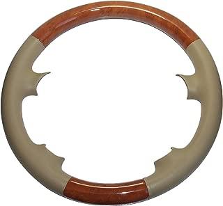 Pursuestar Tan Leather Light Brown Wood Steering Wheel Cover for 03-09 Benz W209 CLK CLK280 CLK320 CLK550 02-08 R230 SL SL350 SL500 SL55 AMG 05-10 W219 C219 CLS350 CLS500 06-09 W211 E E200 E320 E500
