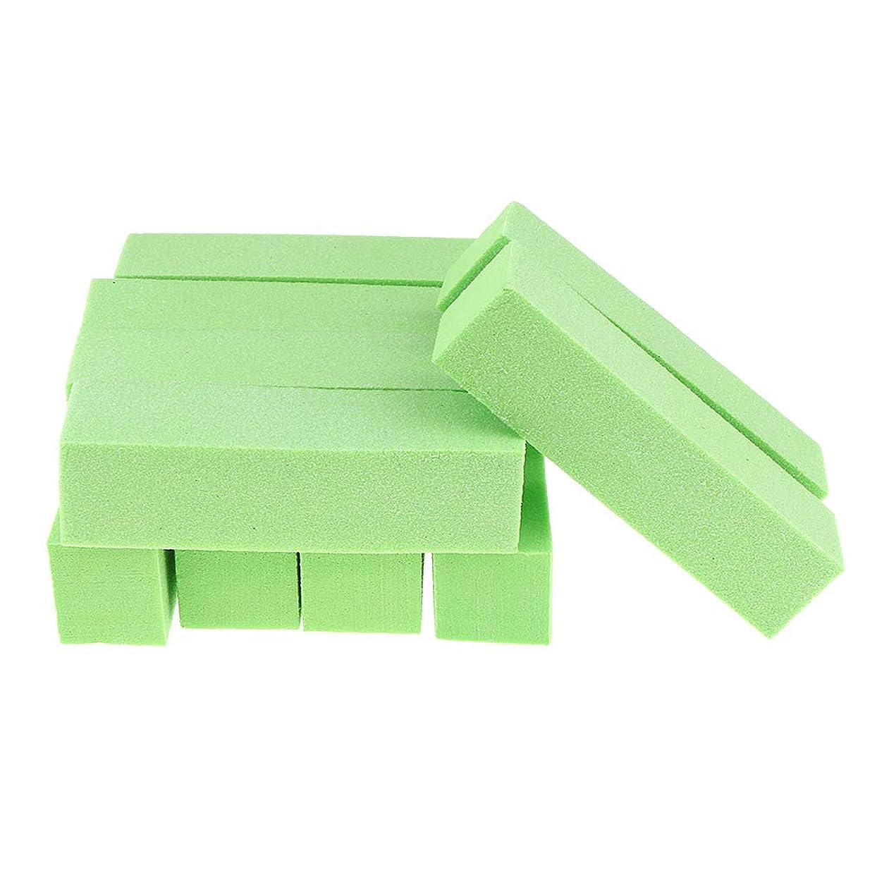 B Blesiya 10個 ネイルファイル ネイル道具 全5色 - 緑