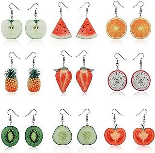 Fashion Adorable Dangle Earrings Sets Funny Cute Earrings Acrylic Fruit Earrings For Women Girls Earrings 9Pcs