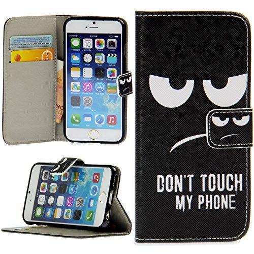 Handy Lux® Schutz Hülle Tasche Kartenfächer Flip Case Etui Cover Involto Motiv Design Hülle BookStyle für Samsung Galaxy S9 Plus Modell 2018, Don't Touch My Phone