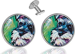 AmSun Miniature Schnauzer Custom Jewelry Classic Tuxedo Shirt Cufflinks Men's Unique Business Gifts (2PCS)