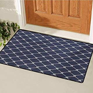GUUVOR Navy Blue Commercial Grade Entrance mat Navy Sea Yacht Theme Cool Classic Vessel Design in Vertical Rope Artwork for entrances garages patios W23.6 x L35.4 Inch Dark Blue and White