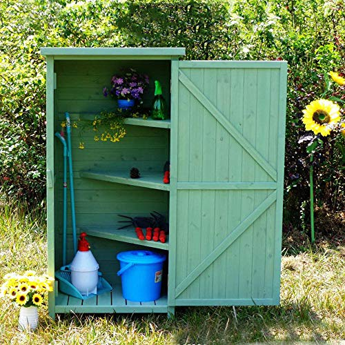 Garden wooden storage shed outdoor sundries storage cabinet, 4-layer garden tool storage shed with lock door, courtyard lawn swimming pool accessories storage shed, waterproof/sunscreen/moisture-pro