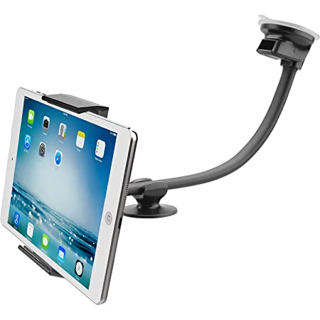 """Tablet Car Mount Holder [13"""" Gooseneck Extension] Long Arm Suction Cup Mount for 7-11 inch Tablet, Cell Phone Holder for SUV Truck Vehicle Lift Uber - APPS2Car Windshield Window Mount for iPad 2-in-1"""