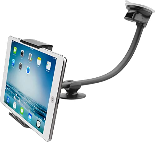 """Tablet Car Mount Holder [13"""" Gooseneck Extension] Long Arm Suction Cup Mount for 7-11 inch Tablet, Cell Phone Holder ..."""
