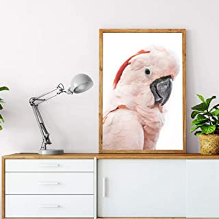 LSWMW Canvas Art Painting Pink Cockatoo Bird Print Tropical Large Animal Poster Canvas Painting Cockatoo Photography Picture Home Wall Decor-60x80cm