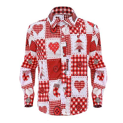 Zylione Weihnachtshemd Damen Herren Hemd Weihnachten Thema Knöpfbar Langarm Stehkragen Weihnachtsmann Drucken Top Bluse Freizeit Slim Fit Lustige Hemden