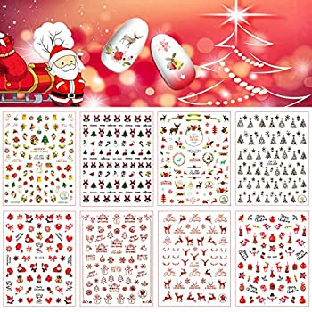 DAAOHABY Christmas Nail Stickers - 12 Sheets Xmas Nail Art Decals 3D Self-Adhesive Nail Art Gifts for Mother Women Girls Kids DIY