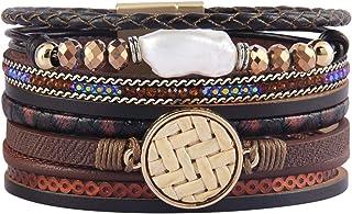 Jenia Leather Wrap Around Bracelet Multi Rope Boho...