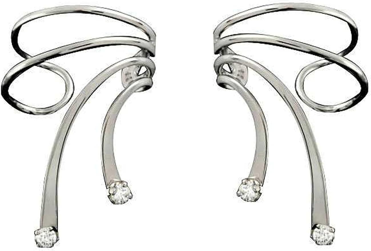 Sterling Silver Cubic Zirconia Short Wave Wrap Cheap sale Set Cuff Long-awaited Ear