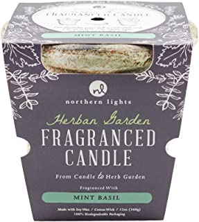 Northern Lights Mint Basil Herban Garden Candle - 12oz - Burns 60 Hours