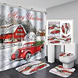 4Pcs/Set Christmas Themed Shower Curtain,Retro Style Xmas Tree Vintage Family Style Curtain, Rugs,Toilet Lid Cover and Bathroom Mat,Waterproof and Non Slip,for Home Hotel Festival Party Decor