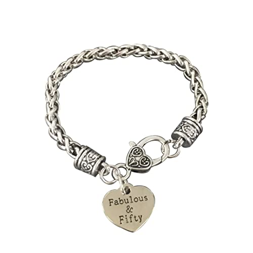 Infinity Collection 50th Birthday Gifts For Women Charm Bracelet Fabulous And Fifty