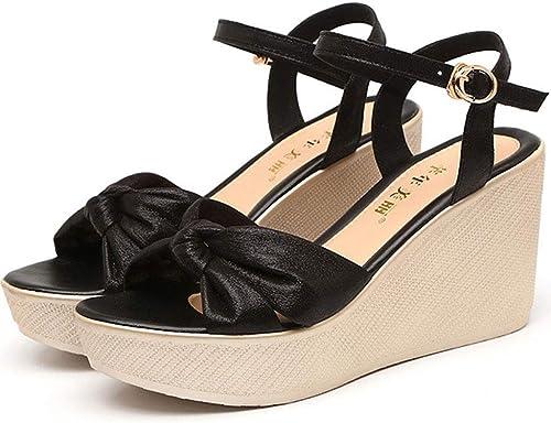 Liabb Chaussures à Talons compensés pour Femmes, Boucle, Bride à la Cheville, Sandales à Bouche Peu Profonde Sandales Chunky,noir,34