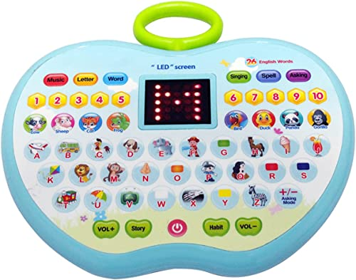 Kabello Apple Shaped LED Display Educational Computer Laptop Toy for Kids Return Gift Item Pack of 1