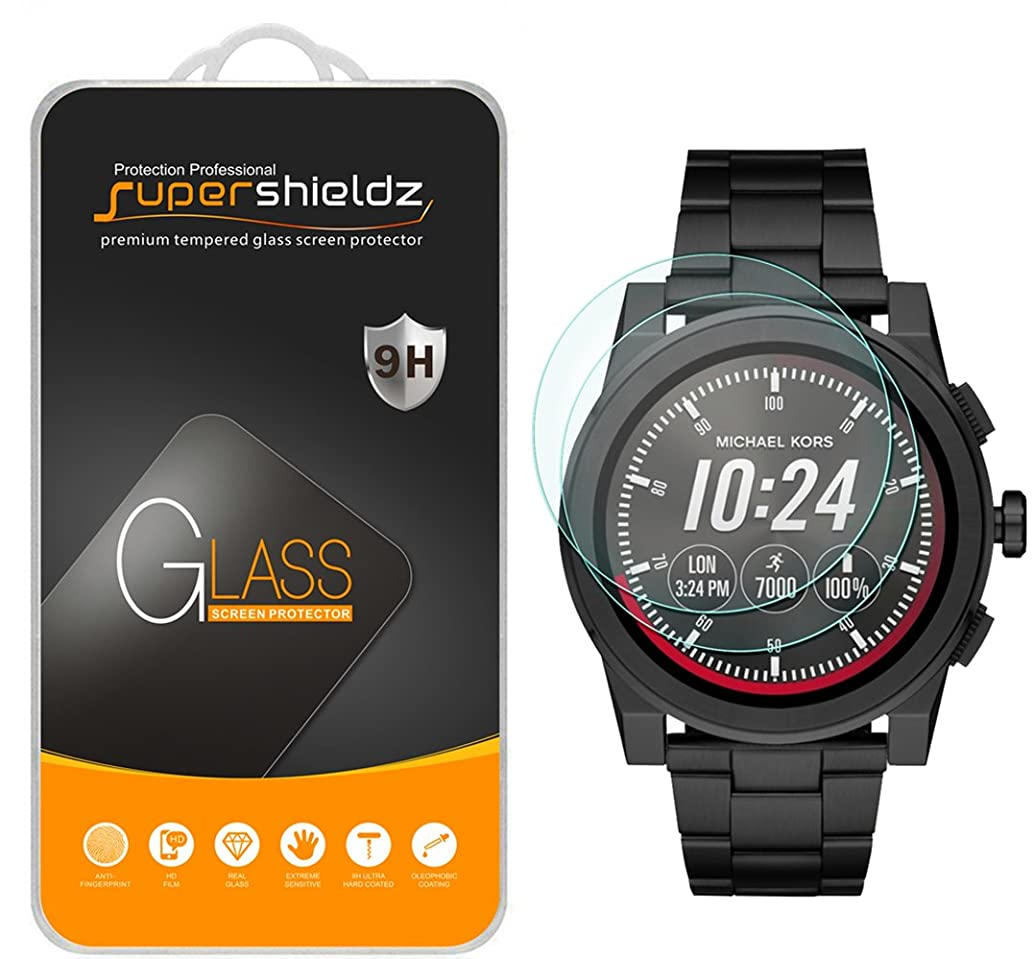 [2-Pack] Supershieldz for Michael Kors Access Grayson Smartwatch (Gen 2) Tempered Glass Screen Protector, [Full Screen Coverage] Anti-Scratch, Bubble Free, Lifetime Replacement