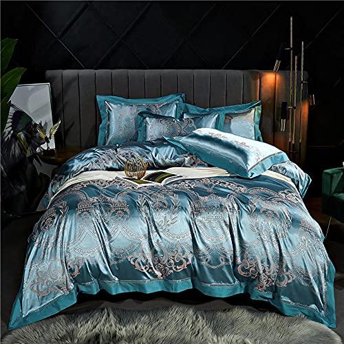 Exlcellexngce Funda Nordica Cama 180x200,Luxury 4pcs Jacquard Juego De Cama Conjuntos De Ropa De Cama SatéN 1 Cubierta De EdredóN + 2 Pillow +1 Hoja De Cama-B_1,8 M De Cama (4pcs)