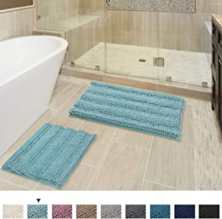 Original Luxury Shaggy Chenille Bath Mats, Ultra Absorbent Soft Striped Plush Floor Mats, Machine Wash Fast Dry Thick Bath Rugs Set (2 Pack, 20
