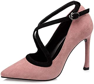 Ying-xinguang Shoes Fashion Cross Strap High Heel Sexy Stiletto Shallow Mouth Single Shoes Women's High Heel Comfortable