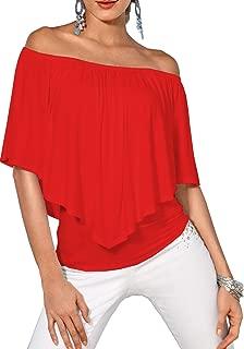 Women's Top Off The Shoulder Loose Casual Ruffle Tunic Blouse Shirt