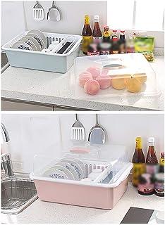 CAI Boîte de Rangement pour Les ménages Cuisine en Bois Massif drainée en Plastique avec Couvercle Vaisselle/Panier de Ran...