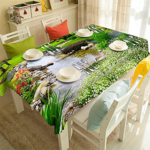 YGHBKL Beautiful View of Country Streams 3D Tablecloth Polyester Rectangular Tablecloth Picnic Fabric Main Decoration 90 x 90 cm