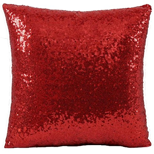 Woaills Throw Pillow Case, Glitter Sequins Cushion Cover for Home Sofa Decor (Red)
