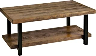 Romatlink Industrial Coffee Table with Storage Shelf for Living Room Furniture Tables 44 inch Rustic Natural Solid Wood, Rustic Brown