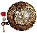 Singing Bowl Nepal -12 Inches Master Healing 'BUDDHA SHAKTI CARVED TIBETAN SINGING BOWL,Meditation Bowl, Tibetan Bowls, Free Singing Bowl Silk Cushion, Striker and Drum Stick