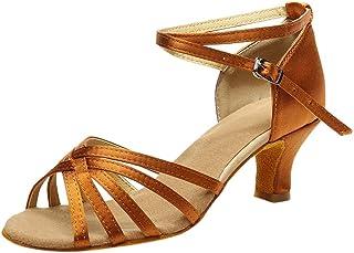 FRAUIT dames mode bont sandalen Latin Dance schoenen sandalen dansschoenen hoge hakken kruisgesp Rumba Walzer Prom Ballzaa...