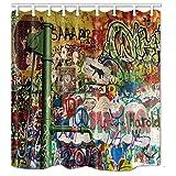 nymb Multicolor Graffiti Gemälde 175,3x 177,8cm Schimmelresistent Polyester Stoff Duschvorhang Set Fantastische Dekorationen Bad Vorhang