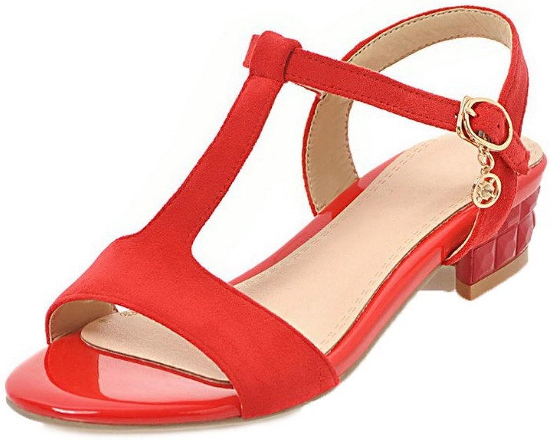WeiPoot Women's Solid Imitated Suede Low-Heels Buckle Open-Toe Sandals