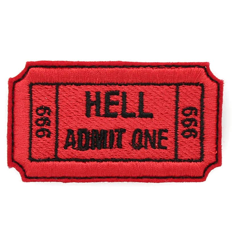 Hell Admit One 666 Ticket Embroidered Iron On Patch
