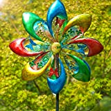 Best Wind Spinners - Sowsun Wind Spinner Outdoor, Colorful Flower 8-Blade Metal Review