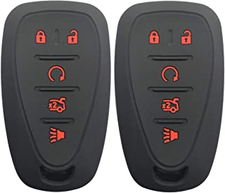 Coolbestda 2Pcs Rubber Key Fob Cover Case Remote Skin Keyless Jacket Protector for Chevrolet 2016 2017 Malibu 2016 Camaro Cruze 5 Buttons Smart Keyless