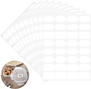 Wisdompro Removable Food Labels, Blank White Fancy Shape Freezer Labels, Food Storage Stickers for Containers, Jars, Bottles - 10 Sheets (320 Pcs)