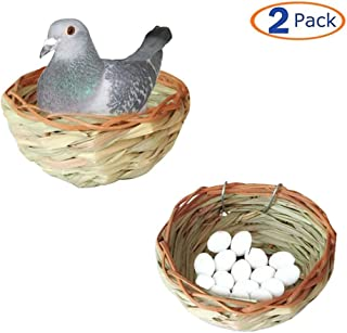 Natural Nest for Birds, breeding and Nesting Behavior, Handmade Parrot Nesting House Hut Cave - Safe for Canary, Finch, Parakeet